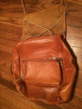 RARE ALL  LEATHER LIGHT BROWN VINTAGE Swiss ARMY LARGE Travel Back Pack~DATE ?