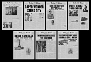 """Superman The Movie Daily Planet Newspaper 11"""" X 15"""" Prop Poster Collection"""