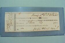 Civil War- Authentic Sutler Token Issuer Check - 4th Reg. Rhode Island Volunteer