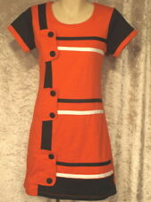 1960's Bright Stretch Cotton Shift Style Dresses Casual Wash'n'wear Workwear M