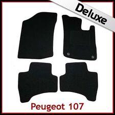 PEUGEOT 107 2005-2014 2-occhielli su misura 1300g di Lusso Tappeto Tappetini Nero