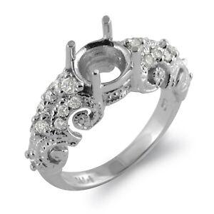 0.30 Ct Round Diamond Wedding Engagement Semi Mount Bridal Ring 950 Platinum G