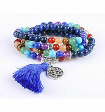 Bracelet multirang 7 chakras - Mala tibétain en Lapis Lazuli et pierres fines