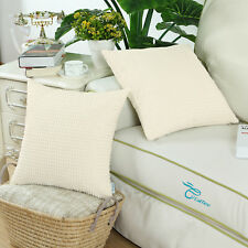 "2Pcs CaliTime Pillow Cushion Cover Corduroy Corn Striped 20"" X 20"" Cream"
