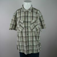 Great Northwest Green Multicolor Short Sleeve Button Front Pockets Shirt Mens XL