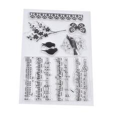 DIY Basteln Stempel Clear Stamp Scrapbooking Grußkarte Schwalbe Musik Note Blume