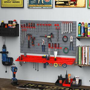 54pc Wall Mounted Garage Workshop Tool Organiser&Storage Panel Rack Kit w/Hooks