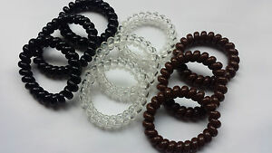 Large Thick Spiral Hair Band Hairbands Stretchy Bobble Brown/Black/Clear 3 or 6