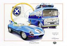 JAGUAR D Type ECURIE ECOSSE Transporter Bus Le Mans 1957 NUOVO pittura arte print