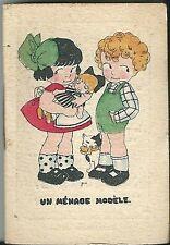 Mini calendrier almanach 1924 Illustrateur MV Scène enfantine publicité Landeau