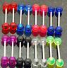 "20 Pcs 10 Pairs UV Solid Plain Colors Nipple Tongue Rings Barbells 14g 5/8"""