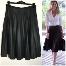 Topshop Black Faux Leather Pleather Pleated Midi Skirt Plus Size UK 16