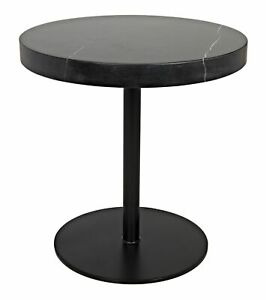 "20"" T Set of 2 Dustin Side Table Round Metal Base Smooth Solid Black Marble"