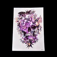 Fake Temporary Tattoo Sticker Purple Skull Arm Body Waterproof Women Art &h