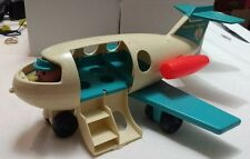 Vintage Fisher Price Little People Play Toy Airplane Plane Jet Blue Wing