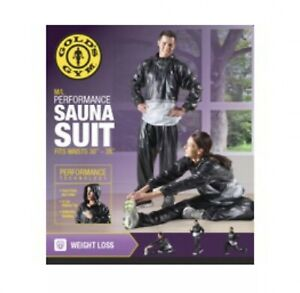 """Golds Gym Sauna Suit Size M/L Black/Gray Top & Pull On Pants Vinyl Waist 30""""-38"""""""