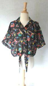 80's VINTAGE Diane Von Furstenberg DVF Pop Art Dolls Crop Top Blouse Shirt L