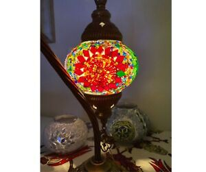 Turkish Moroccan Mosaic Bohemian Colorful Table Bedside Lamp Swan Neck
