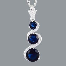 Schmuck 18K White Gold Plated CZ Round Blue Sapphire Pendant Free Chain