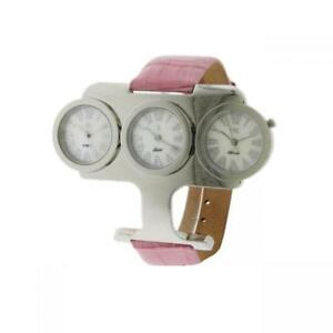 Womens Watch O.I.W. Trial Time Leather Pink Mother Pearl White 3 Dials W3