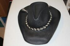 2dd070d85f8 Rodeo Dr by Stetson Black straw hat with black and white braided band great