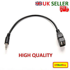 3.5mm Male AUX Audio Plug Jack To USB 2.0 Female Converter Extension Cable Black