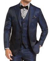 Tallia Mens Blazer Blue Size Small S Two Button Slim Fit Jacquard Print $350 271