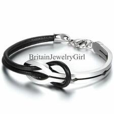 Black Leather Stainless Steel Bangle Bracelet Men Women Half Cuff Love Infinity
