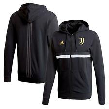 Adidas Mens Juventus 3 Stripe Full Zip Hoodie Hoody Hooded Top - Black