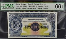 More details for britan military/armed forces £5 note voucher pmg 66 gem uncirculated 1958 pound