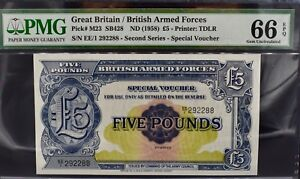 BRITAN MILITARY/ARMED FORCES £5 NOTE VOUCHER PMG 66 GEM Uncirculated 1958 Pound