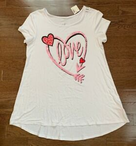 Justice girl's swing top t-shirt size 14-16 white w/pink-red-black Love NWT