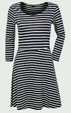 LADIES NAVY AND CREAM STRIPED SKATER SUMMER DRESS  SIZE 8 ... RRP £22 .. BNWOT