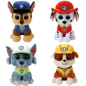 """Paw Patrol Ty Beanie Boos regular 6"""" or 15 CM - Buy Lot of 2 or 3 - Chase, Rocky"""