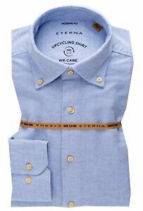 ETERNA Hemd Modern Fit Gr.43/44 XL Hellblau Oxford Button-Down-Kragen