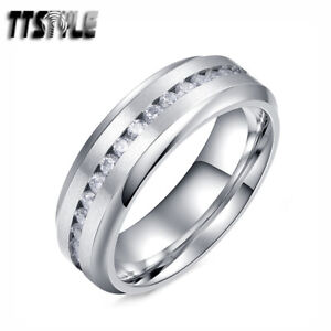TTStyleSilver 7mm Matt Finished S.Steel Wedding Band Ring With CZ Size 7-15 New