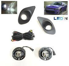 LED Fog Light Lamp Set For 15-19 Dodge Charger SRT Bezel Wire Harness Hellcat