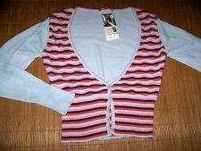 MEXX Cardigan Damen Strickjacke XL gestreift Hell blau V-Ausschnitt NEU #73