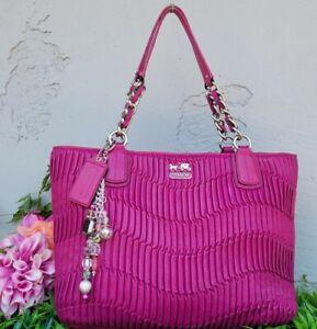 Coach 20522 leather madison gathered magenta chain tote satchel purse handbag