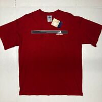 NWT Adidas Mens Short Sleeve Crew Neck Pullover T Shirt Red Size Large