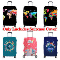 Elastic Luggage Cover Suitcase World Map Dustproof Case Protector 19-32 inches