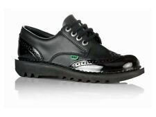 Sale Womens Kickers KICK LO BROGUE CORE Black Leather Work School Shoes