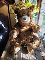 "Large 17"" Vintage Steiff Teddy Bear - Large Brown Genuine Mohair! 665899 W/tag"