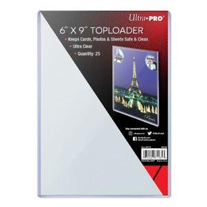 """(25) Ultra Pro 6x9 Toploaders 6"""" x 9"""" Topload Rigid Card Holders Photo Postcard"""