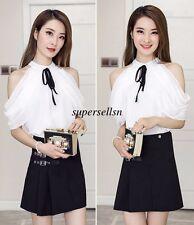 Fashion Korean Women Summer Chiffon Off Shoulder Loose Tunic Blouse Tops Shirt
