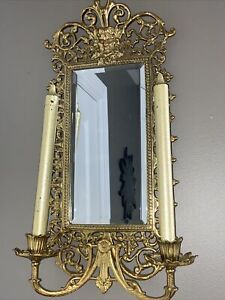 Virginia Metalcrafters Brass Entryway Mirror Sconce Vintage Gothic Candle Holder
