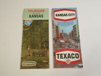 Lot of 2 Vintage Texaco Kansas City & Conoco Kansas Gas Station Travel Road Maps