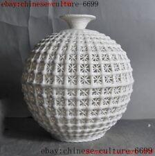 Fine China Dehua white porcelain master carved Hollow Bottle Pot Vase Jar Statue