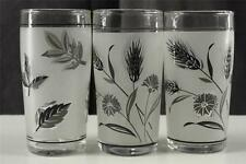 Vintage Lot 3 Libbey Rock Sharpe Frosted Silver Leaf Wheat 5OZ Tumblers Glasses