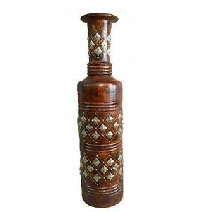 Handicrafts Beautiful Mango Wood Flower Pot Brass Phool Home Decorative Use